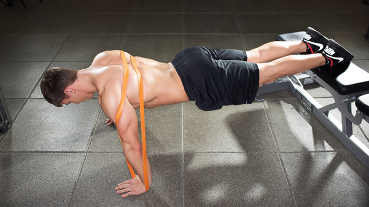resistance band raised push up