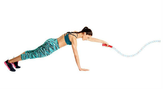 Push-Up Plank Single Arm Waves with battle ropes